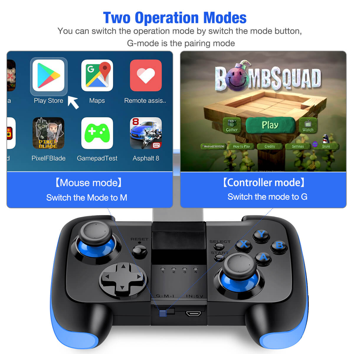 BEBONCOOL Wireless Game Controller For Android Phone/ Tablet / Samsung Gear  VR / Game Boy Emulator (Blue)