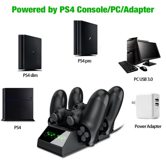 BEBONCOOL PS4 Controller Charger With USB PS4 Charging Cable For Sony PS4/PS4 Slim/PS4 Pro Controllers