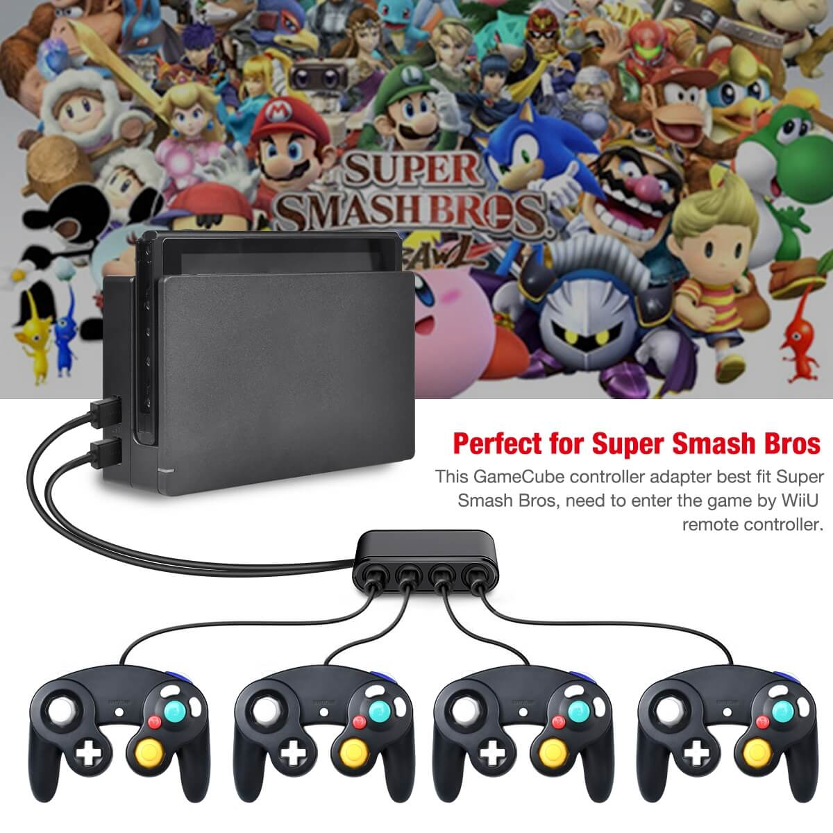 Super Smash Bros GameCube NGC Controller Adapter (3)
